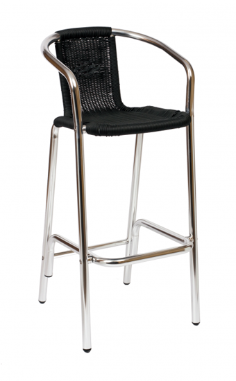 Picture of MS51BTN Madrid Arm Barstool  Wicker Anodized Aluminum