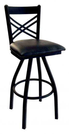 Picture of 2130SBLV-SB Akrin Swivel Cross Back Barstool Vinyl Seat