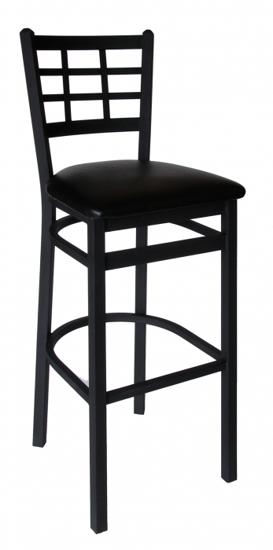 Picture of 2163BBLW-SB Marietta Barstool - Window Pane Wood Seat