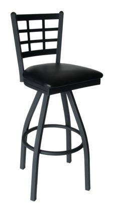 Picture of 2163SBLW-SB Marietta Swivel Barstool Window Pane Wood Seat
