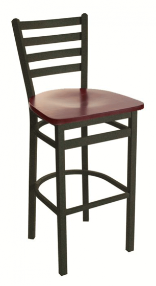 Picture of 2160BBLV-SB Lima Ladder Back Barstool Vinyl Seat