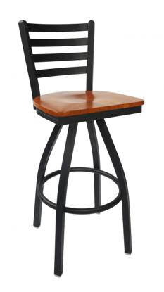 Picture of 2160SBLW-SB Lima Swivel Ladder Back Barstool Wood Seat
