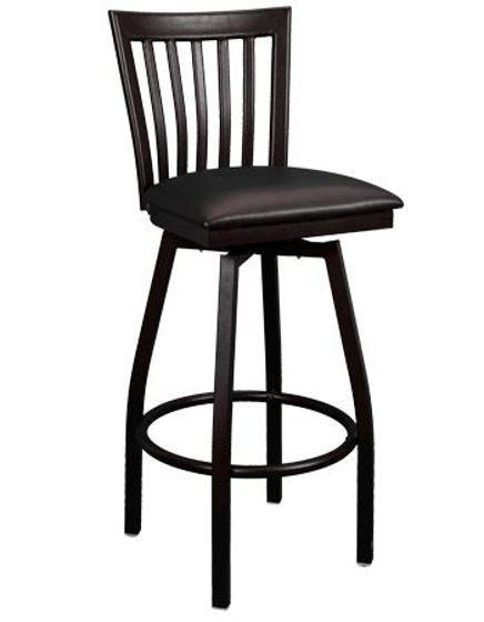 Picture of ERP-134-BSS Swivel Elongated Vertical Back Metal Barstool