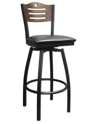 Picture of ERP-161-BSS Swivel 3 Slats with Circle Metal Barstool