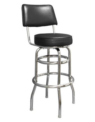 Picture of ERP-200-3 Swivel Chrome Vinyl Barstool with Back