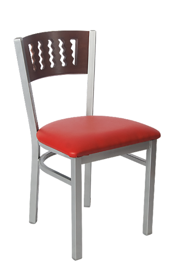 Picture of ERP-190 Grey Finish Wavy Slot Back Metal Chair