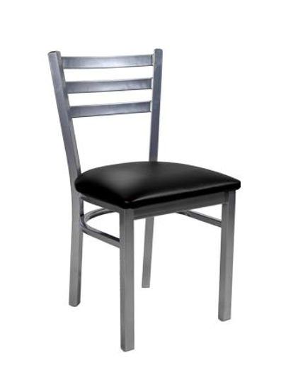 Picture of ERP-137 Grey Finish 3 Slat Ladder Back Metal Chair