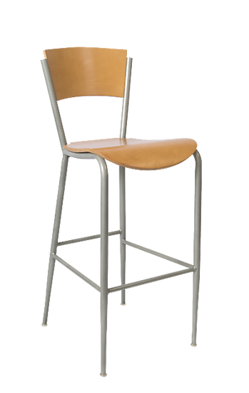 Picture of ERP-172-BS-N Grey Finish Natural Plain Back Metal Barstool
