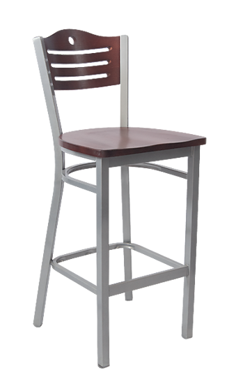 Picture of ERP-181-BS Grey Finish 3 Slats with Circle Metal Barstool