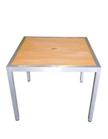 Picture of ERP-ALP3636 Aluminum Patio Table Imitation Teak Slats