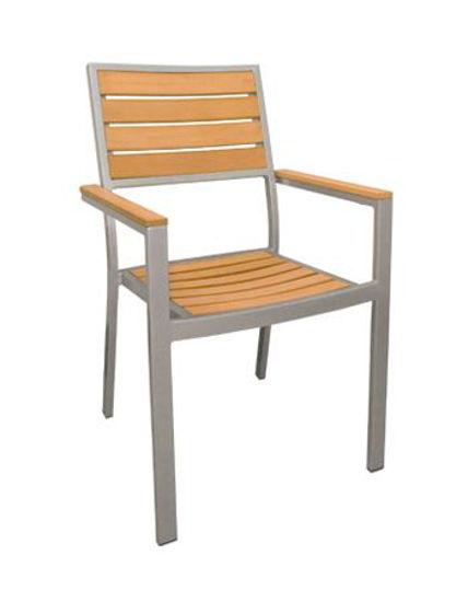 Picture of ERP-29 Aluminum Chair w/ Imitation Teak Slats
