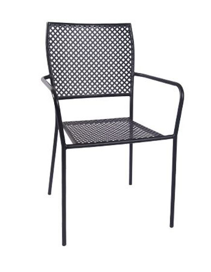 Picture of ERP-OF-03 Metal Patio Stack Chair w/ Armrest, Black-3