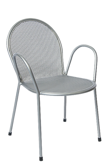 Picture of ERP-OF-06-S Silver Finish Metal Powder Coated Metal Outdoor Chair