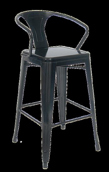 Picture of ERP-12-BS Indoor/Outdoor Steel Barstool in Black/ Clear Coat Finish