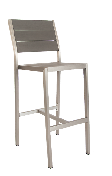 Picture of ERP-35-BS Aluminum Barstool with imitation teak slats in Grey Finish