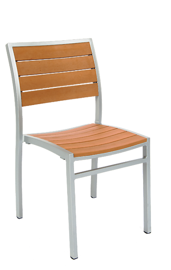 Picture of ERP-73 Aluminum Chair with Imitation Teak Slats, Grey Finish Frame