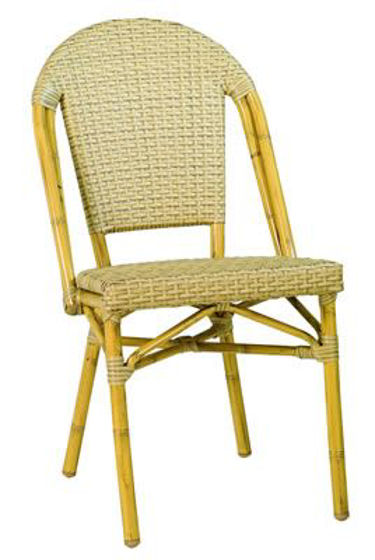 Picture of MJ-556H Mingja Aluminum Side Chair with PVC wicker - Bamboo Collection
