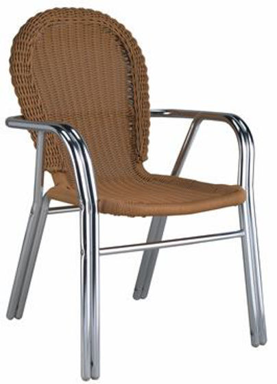 Picture of MJ-580H Mingja Aluminum Side Chair with PVC wicker - Bamboo Collection